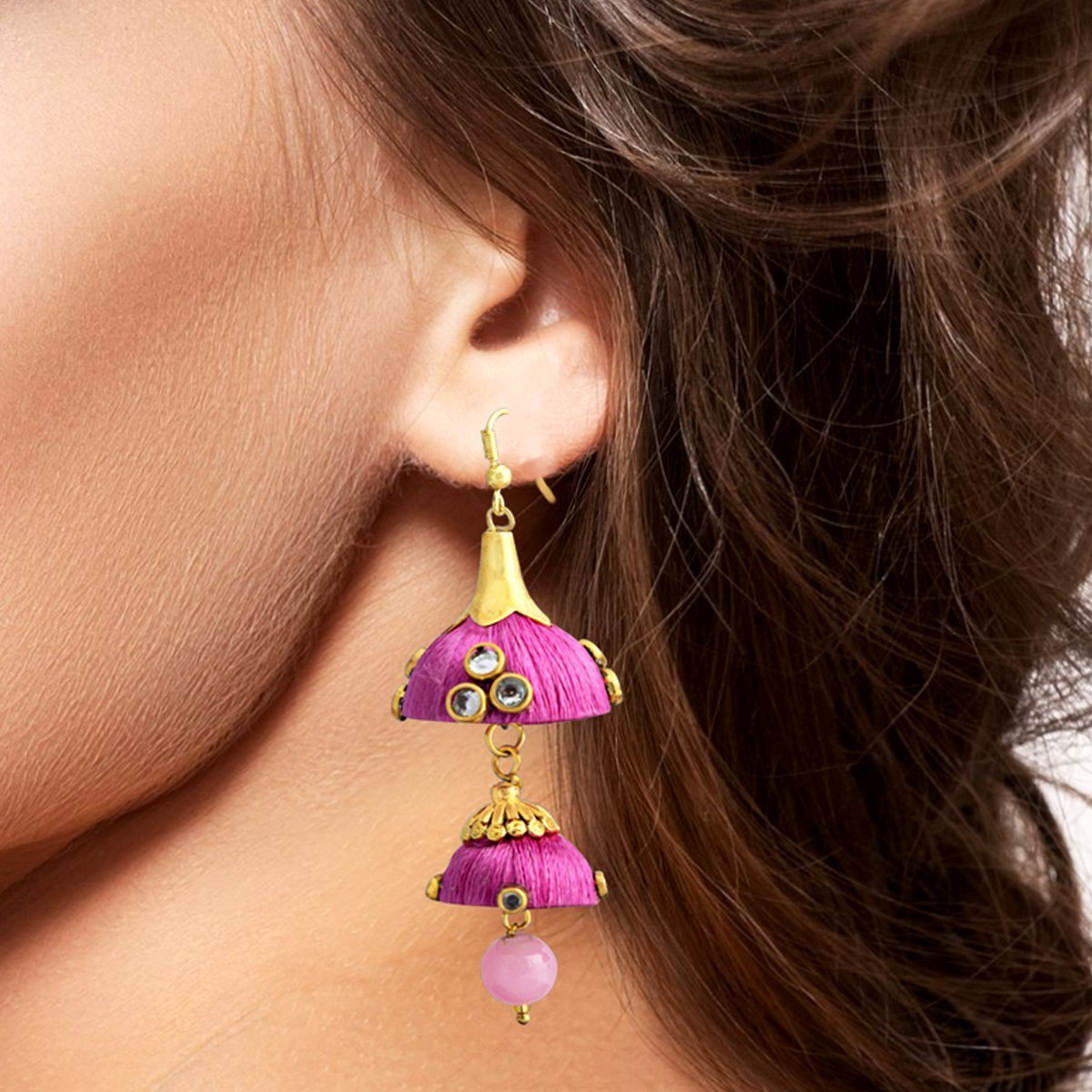 Pink Colour Traditional Double Dome Threaded Earring