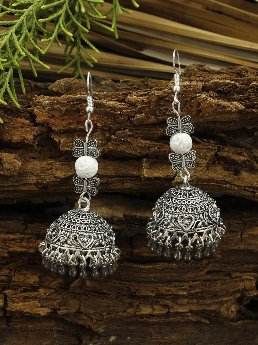 Shana Fashions Oxidized Silver Floral and Butterfly Design With White Color Lava Bead Jhumka Earring-SHANA FASHIONS-Earring