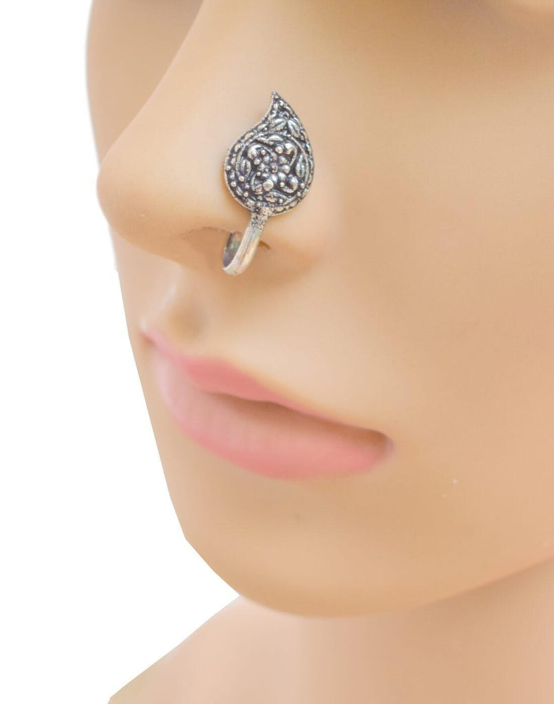 Oxidized Metal Nose Pin Paisley Shape Nose Pin