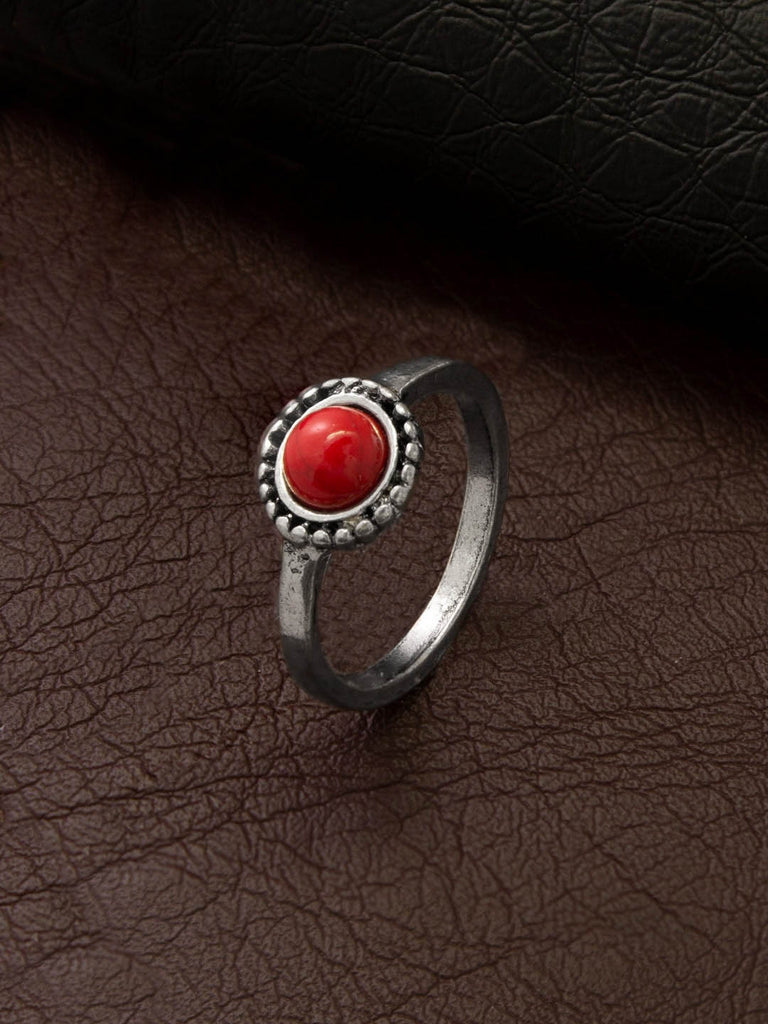 Aana Oxidised Silver Plated Geometric Design Red Color Stone Finger Ring-AANA-Finger Ring