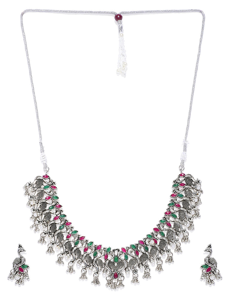 Zaveri Pearls Traditional Peacock Inspired  Necklace Set-ZAVERI PEARLS1-Necklace Set