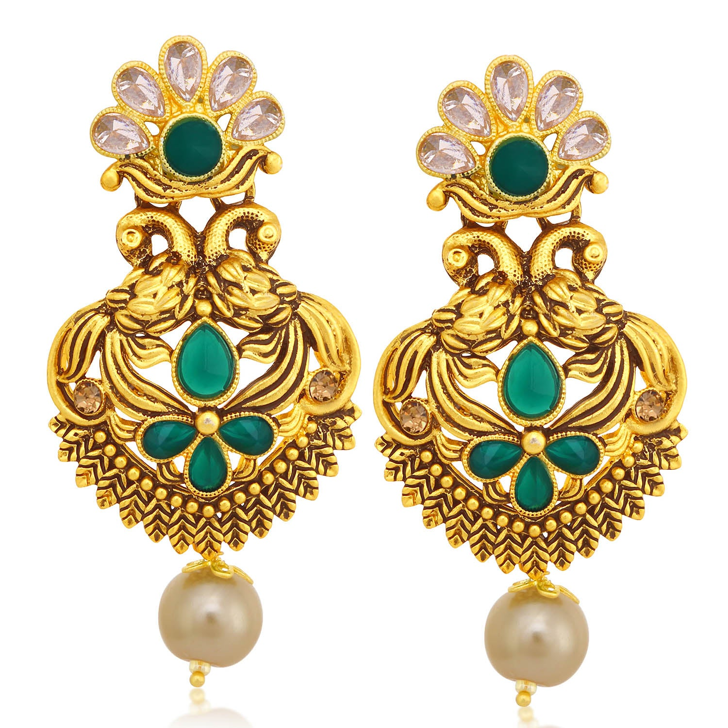 Sukkhi Glorious LCT Stone Gold Plated Pearl Peacock Dangle Earring For Women-SUKKHI1-Earring