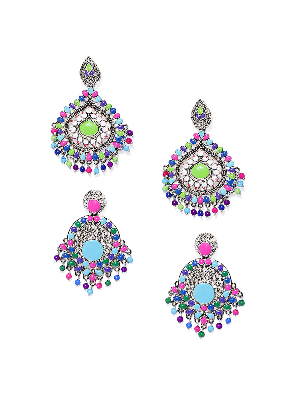 Combo Of 2 Zaveri Pearls Antique Silver Tone Mesmerising Dangle Earring-ZAVERI PEARLS1-Earring