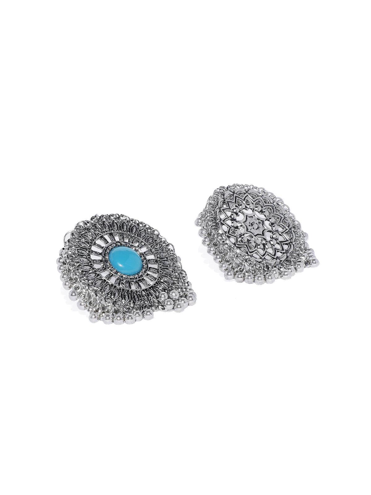 Combo Of 2 Zaveri Pearls Antique Silver Tone Beaded Traditional Finger Ring-ZAVERI PEARLS1-Finger Ring