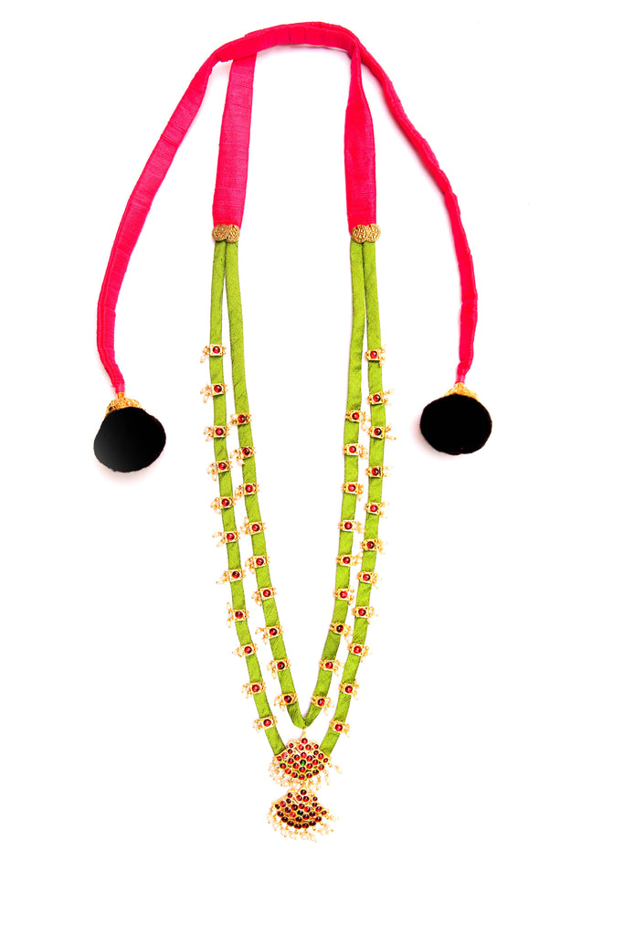 Lime Green Color Double Layered Contemporary Temple Necklace