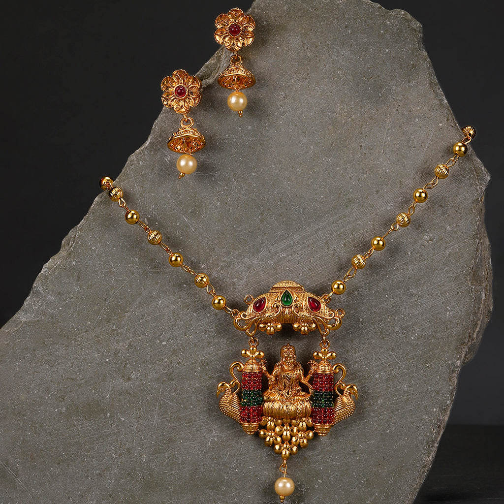 Sukkhi Fascinating Gold Plated Temple Necklace Set for Women-SUKKHI-Necklace Set