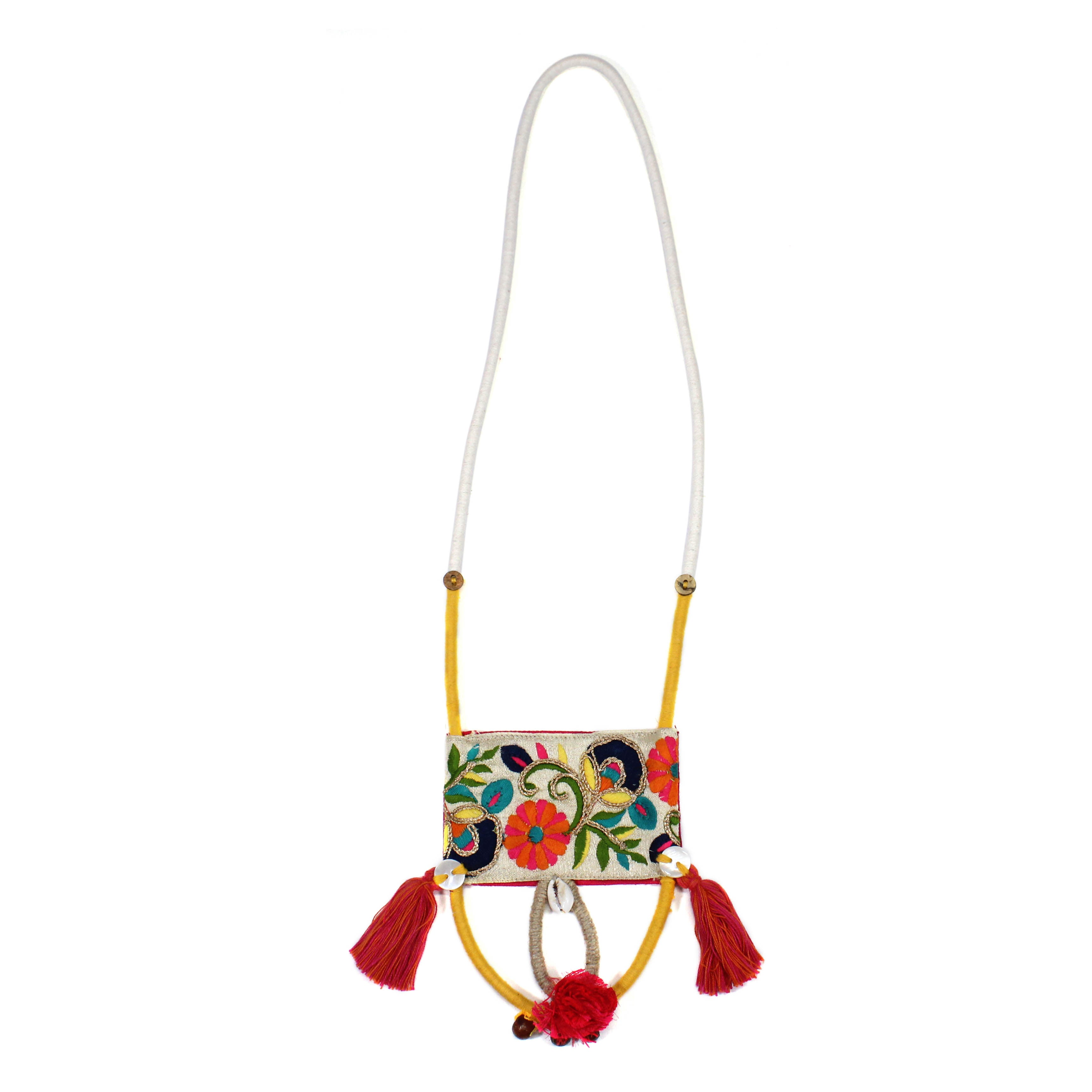 Hand Crafted Embroidered Panel With Yellow And Beige String Necklace