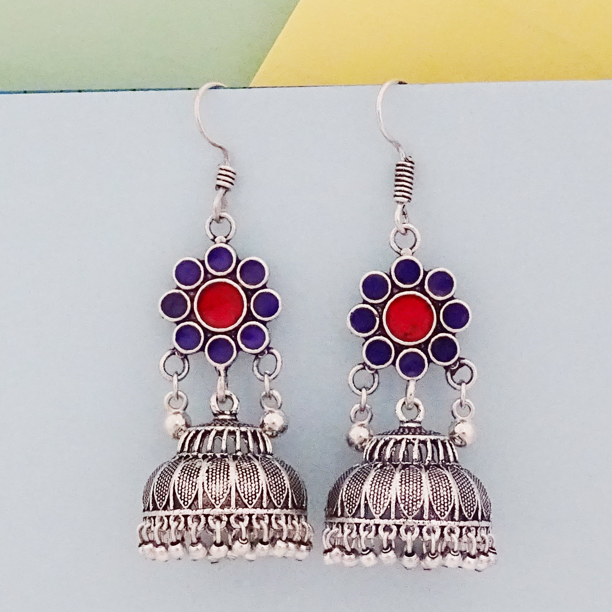 Silver And Multicolor Designer Oxidized Hook Jhumka Earring
