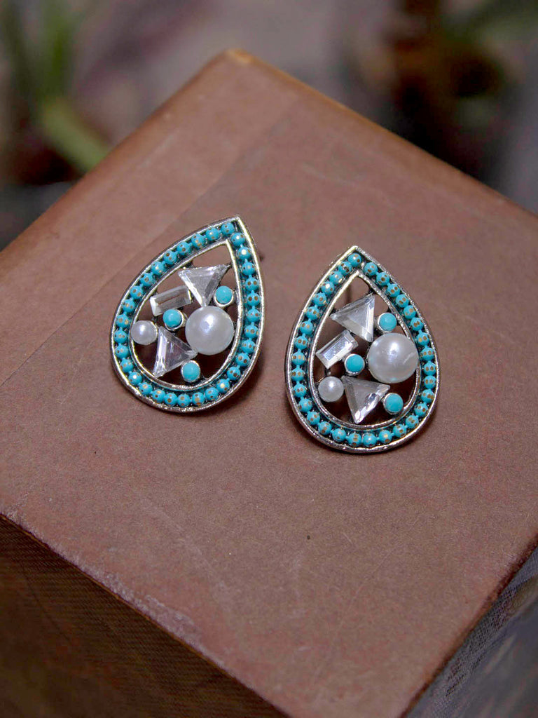 Aana Silver Plated Teardrop Design Blue Color Enamel Painted With White Pearl Stud Earring-AANA-Earring