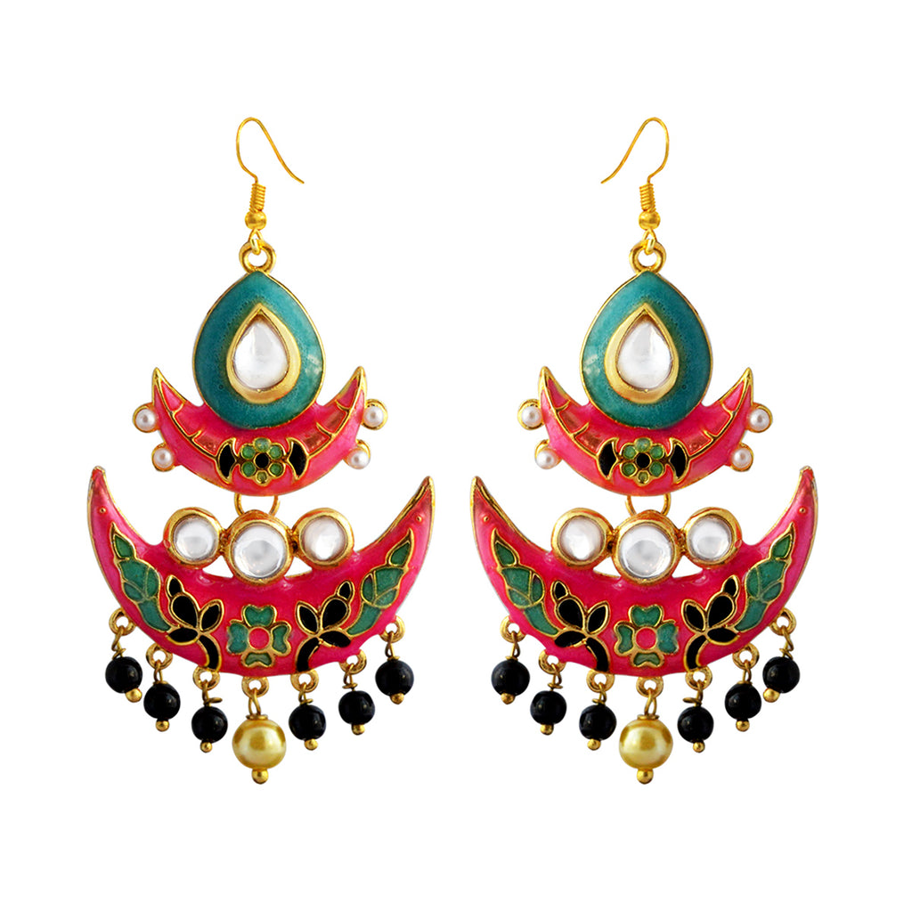 Pink And Marine Meenakari Tribal Dual Half Moon Design With Kundan Earring