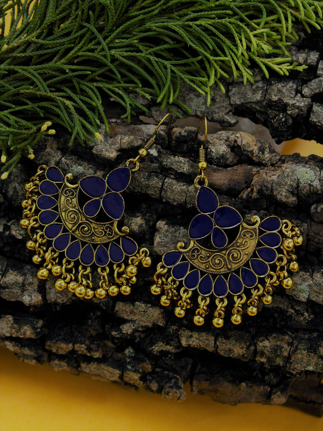 Aana Gold Plating Blue And Gold Color Floral Design Afghani Earring-AANA-Earring