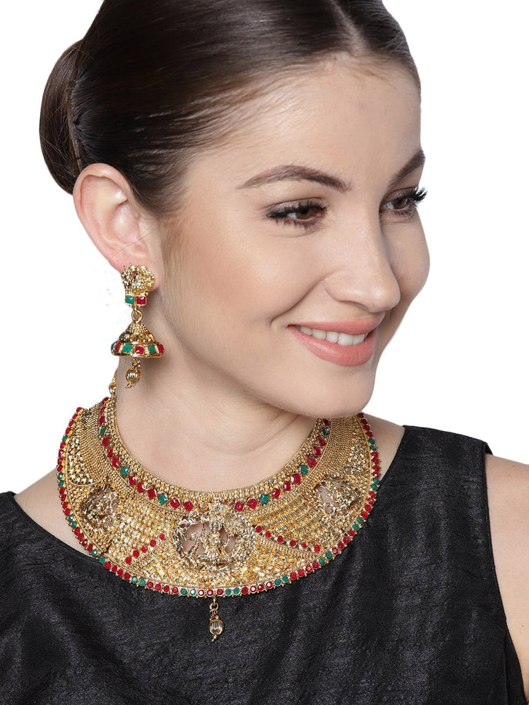 Zaveri Pearls Gold Tone Finely Detailed Temple Choker Necklace Set