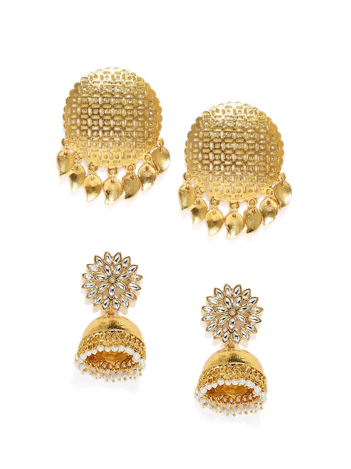 Combo Of 2 Gold Tone Traditional Earrings