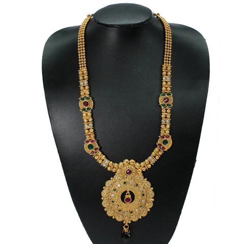 3 Layered Long Haram Necklace With Satement Pendant