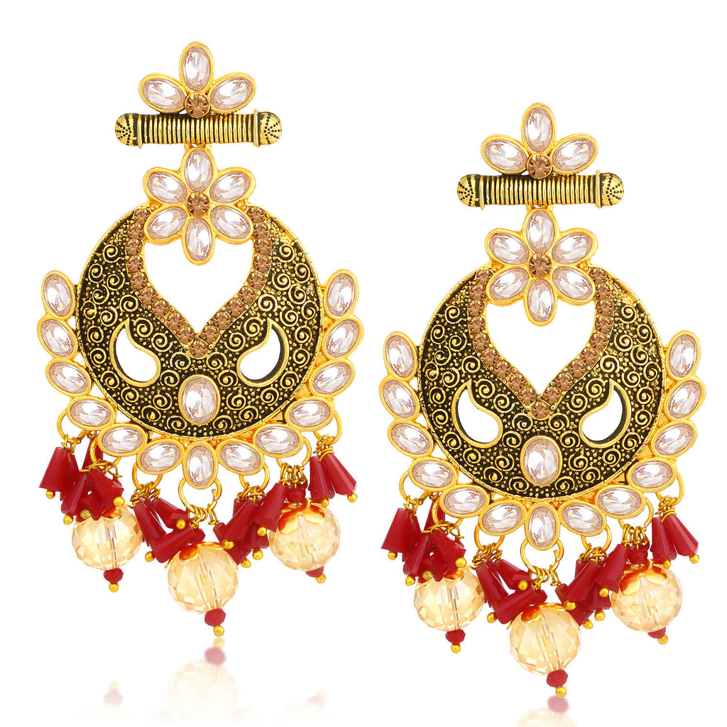 Sukkhi Brilliant LCT Stone Gold Plated Floral Chandelier Earring For Women-SUKKHI1-Earring