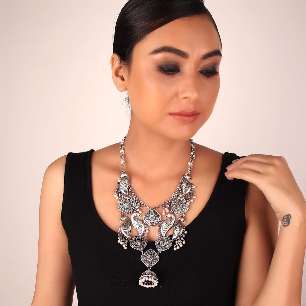 Oxidised Silver Plated Circle of Birds Design With Hanging Jhumka Medium Necklace By Cippele-Cippele-Necklace