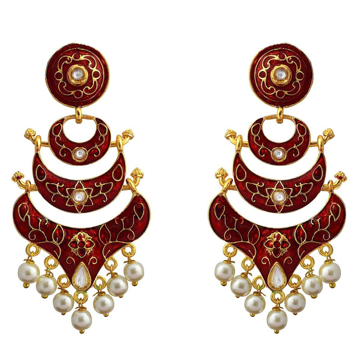 Classic Meenakari Red Double Layer Gold Plated Chaand Bali Dangler Earring