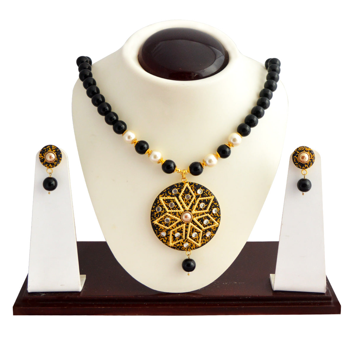 Black Colour Beads Floral Design With Kundan Meenakari Necklace Set