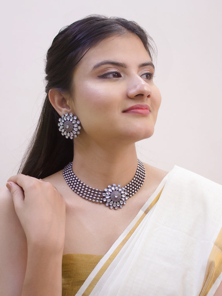 Oxidized Silver Plated Teardrop Design White Color Artificial Stone Choker Necklace Set-OXIDIZED-Necklace Set