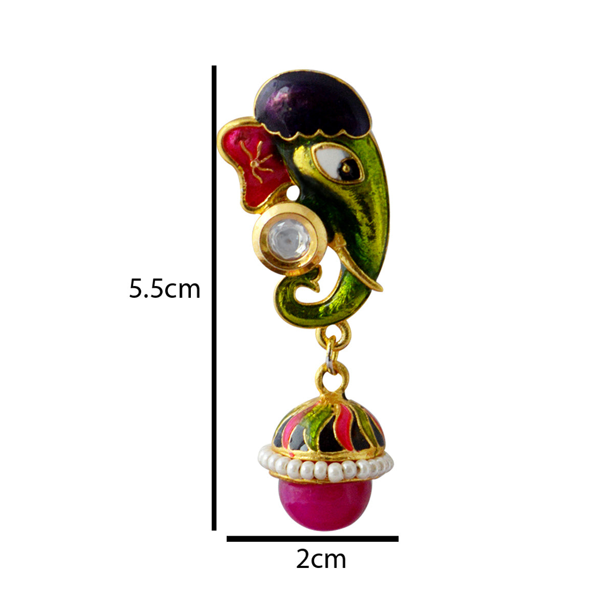 MK Jewellers Meenakari Green And Pink Reverse Ganesha Design Drop Earring-MK JEWELLERS1-Earring