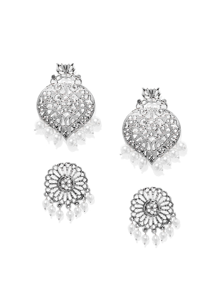 Combo Of 2 Zaveri Pearls Antique Silver Tone Dangle And Drops Earring-ZAVERI PEARLS1-Earring