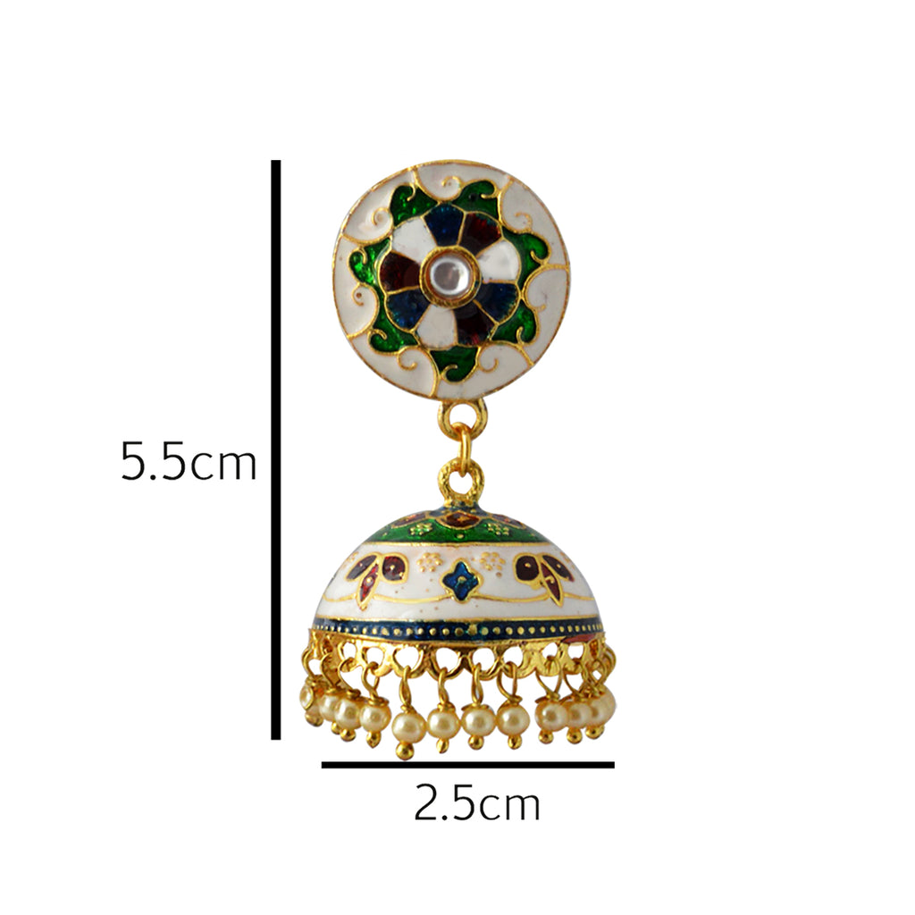 Mk Jewellers White And Green Color Meenakari Jhumka Earring-MK JEWELLERS1-Earring