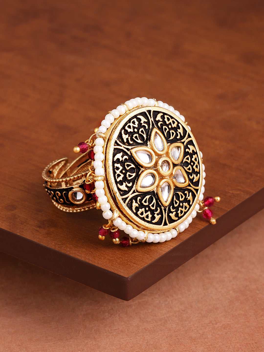 Mesmerising Dark Antique Spinning Finger Ring By Zaveri Pearls-ZAVERI PEARLS-Finger Ring