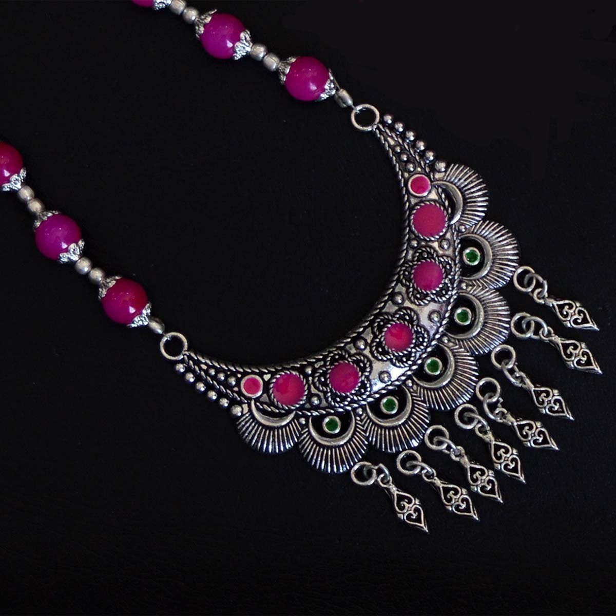 Oxidised German Silver Chaand Shape Floral Design With Pink Crystal Stone Necklace Set
