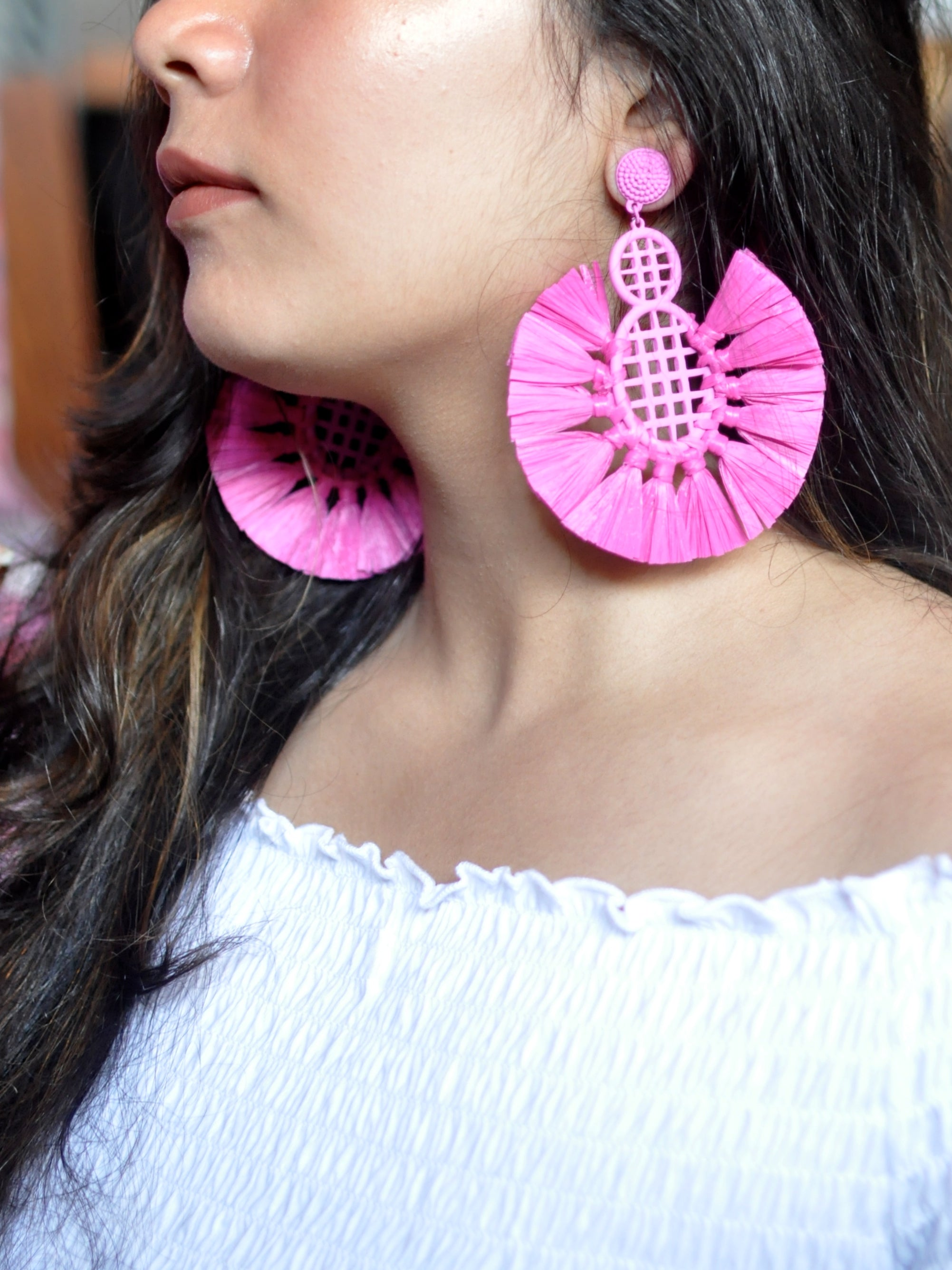 Brighten Up Pink Feather Earrings-STYLE FIESTA-Earring