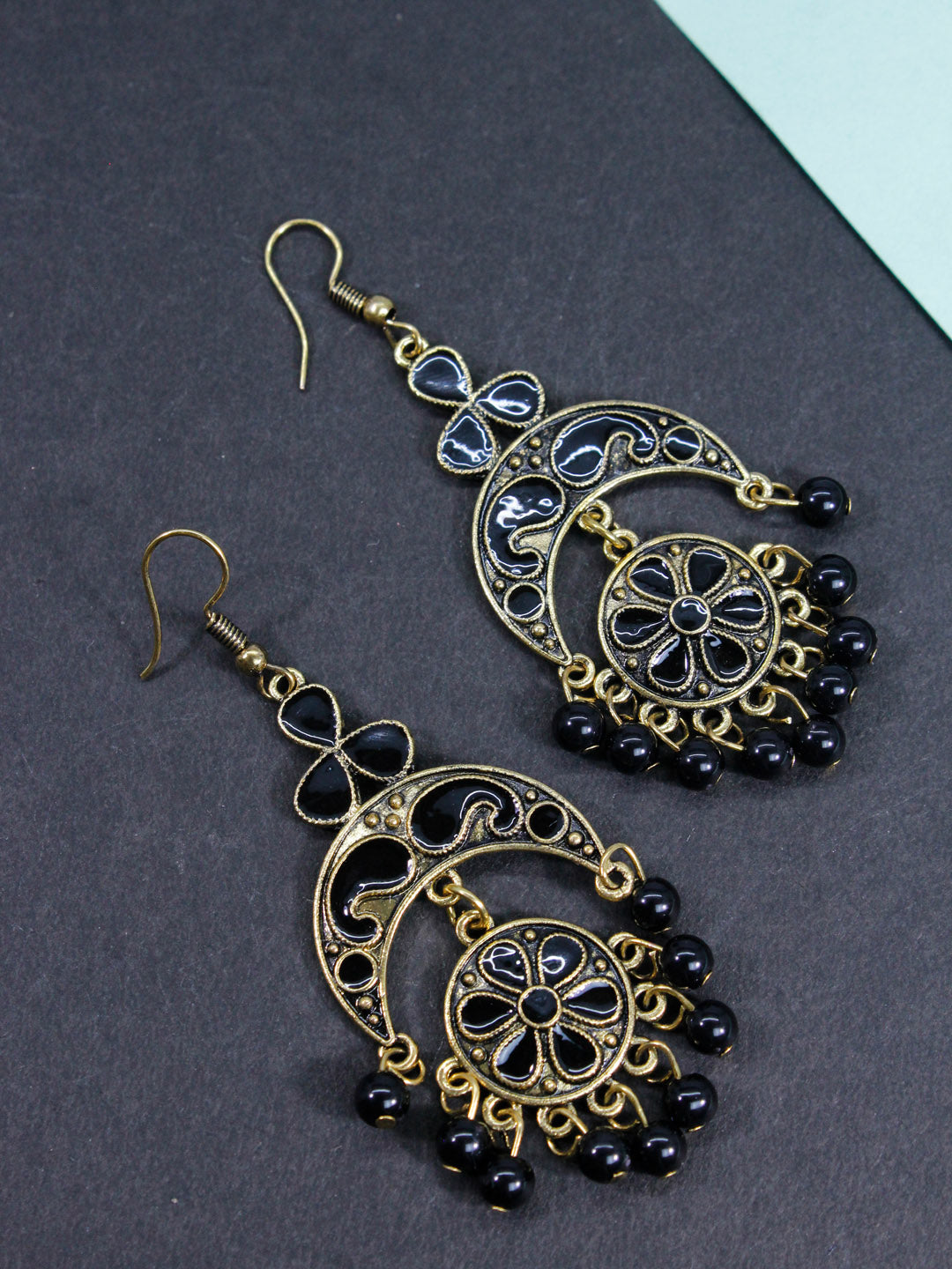 Aana Gold Plated Floral Design Black Earring-AANA1-Earring