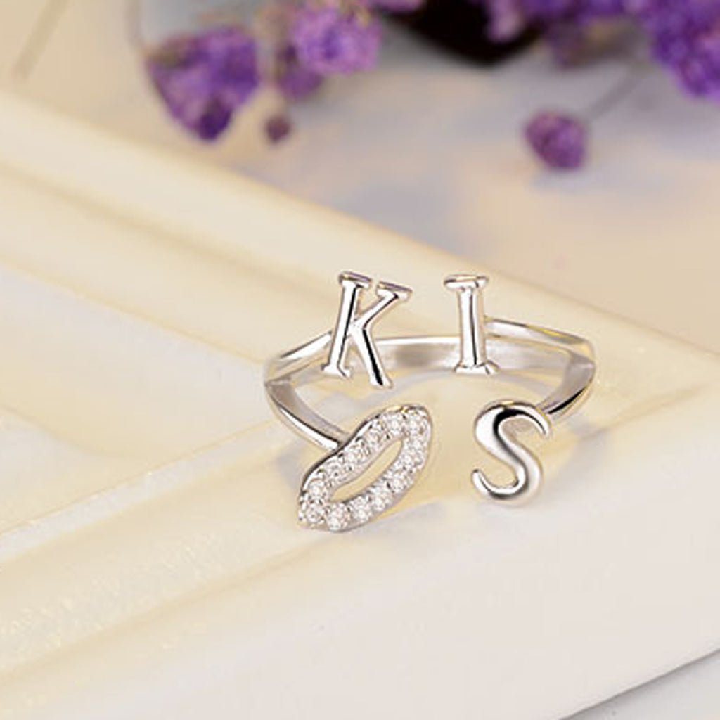 Sukkhi Glimmery Kiss Alphabetical Design Australian Diamond Rhodium Plated Finger Ring for Women-SUKKHI-Finger Ring