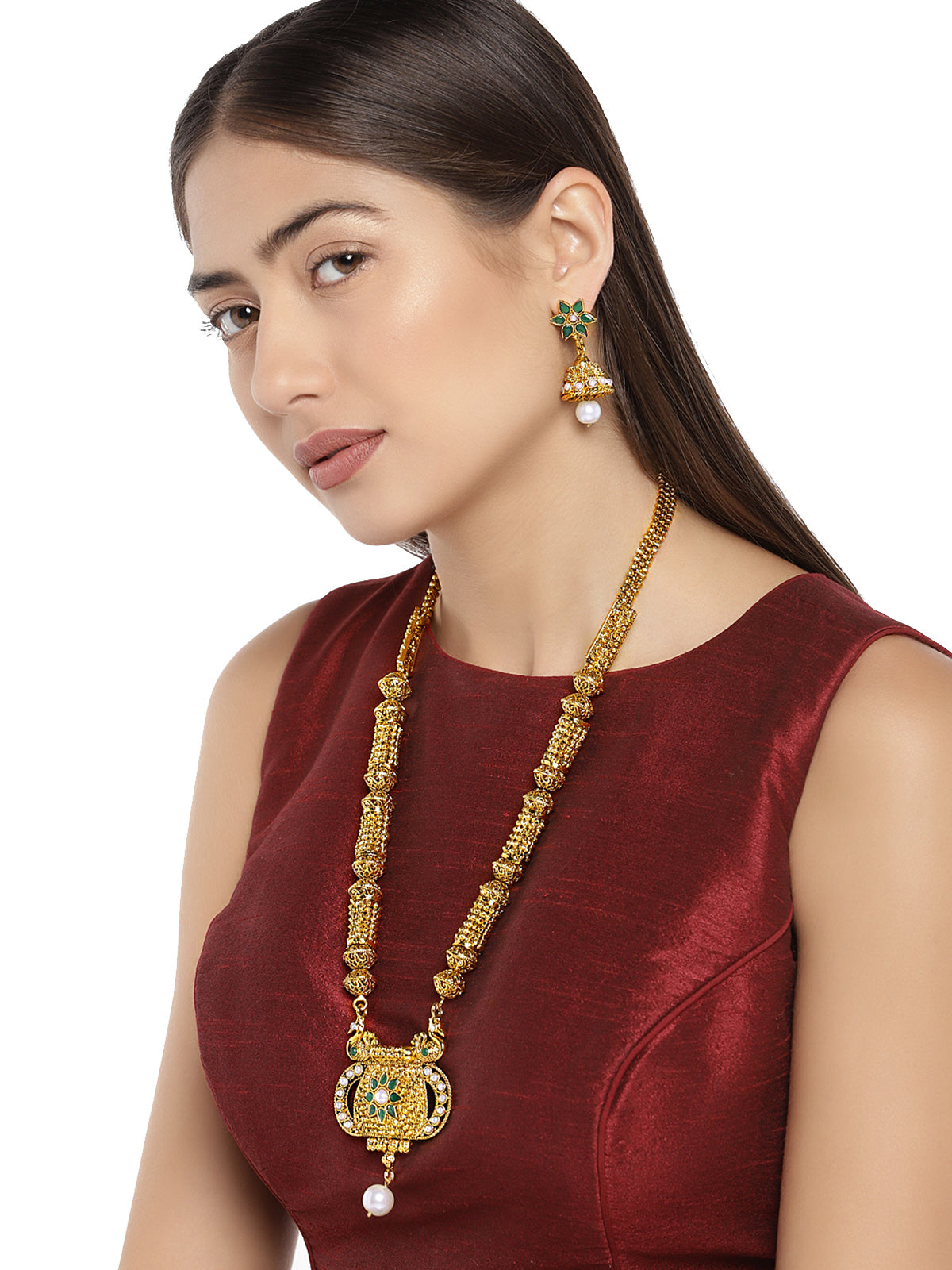 Zaveri Pearls Antique Gold Tone Traditional Necklace Set-ZAVERI PEARLS1-Necklace Set