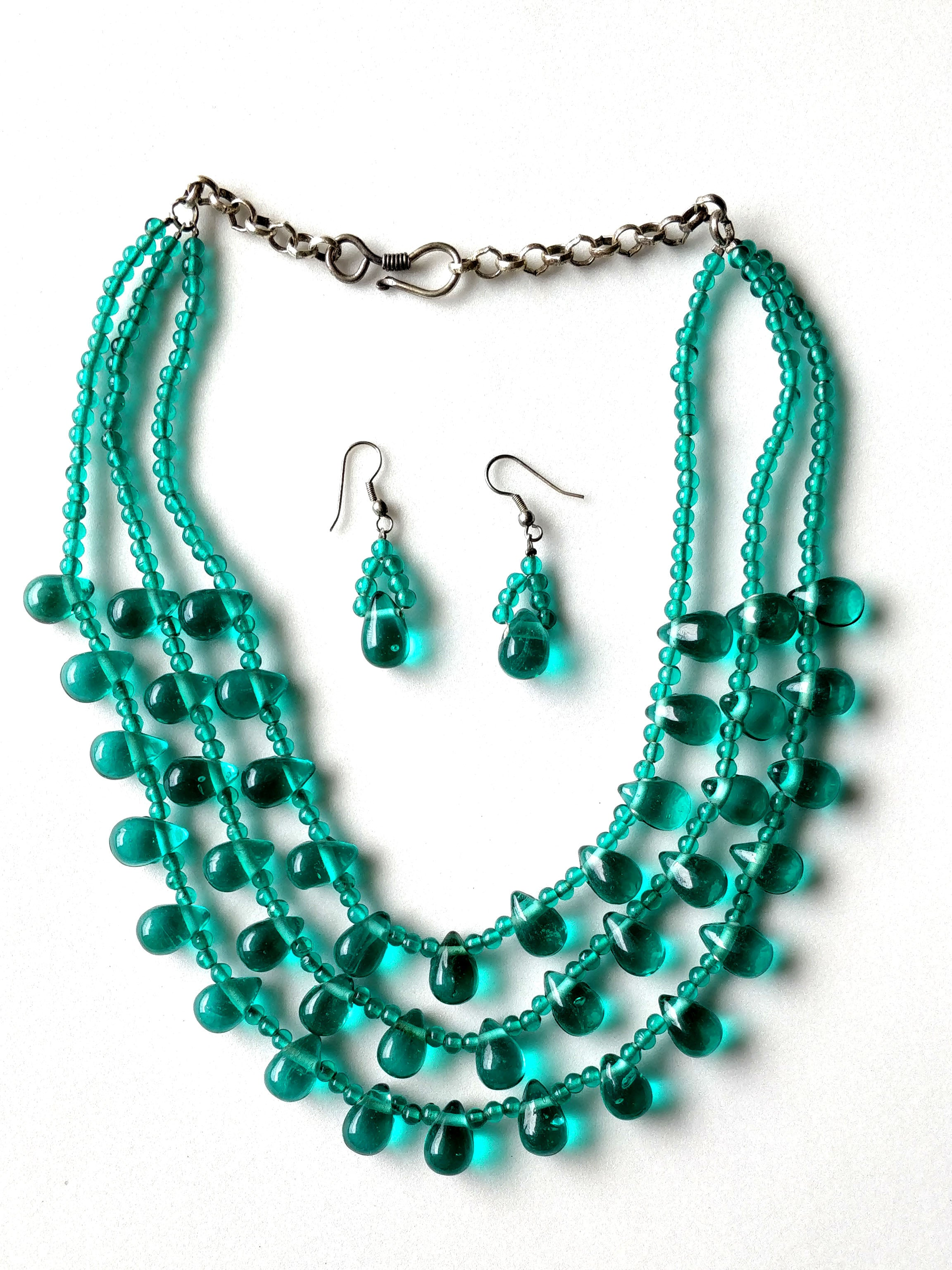 Green Color Glass Beads 3 Layered Necklace Set