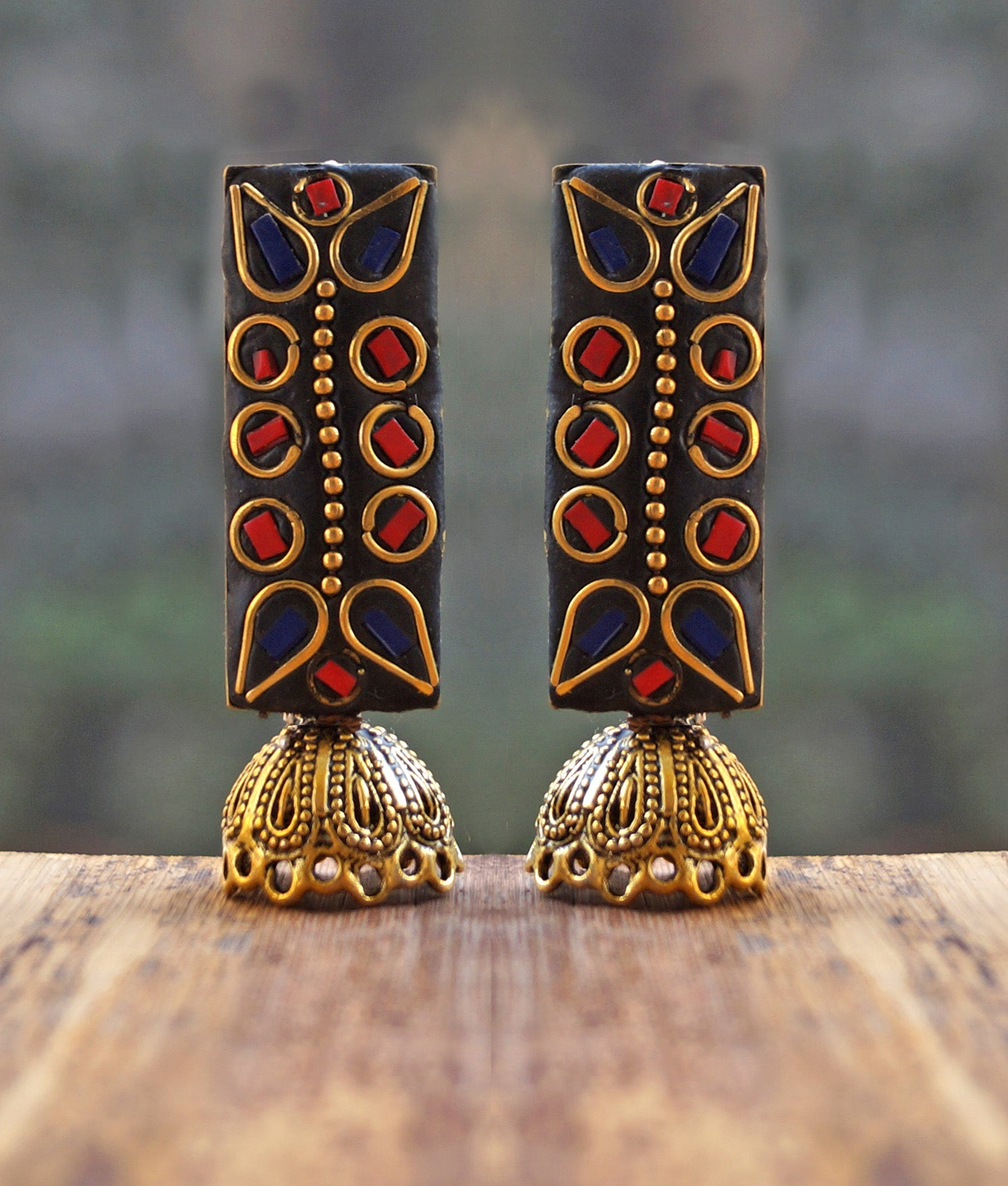 Blue and Red colour lacquer Jhumka Earring