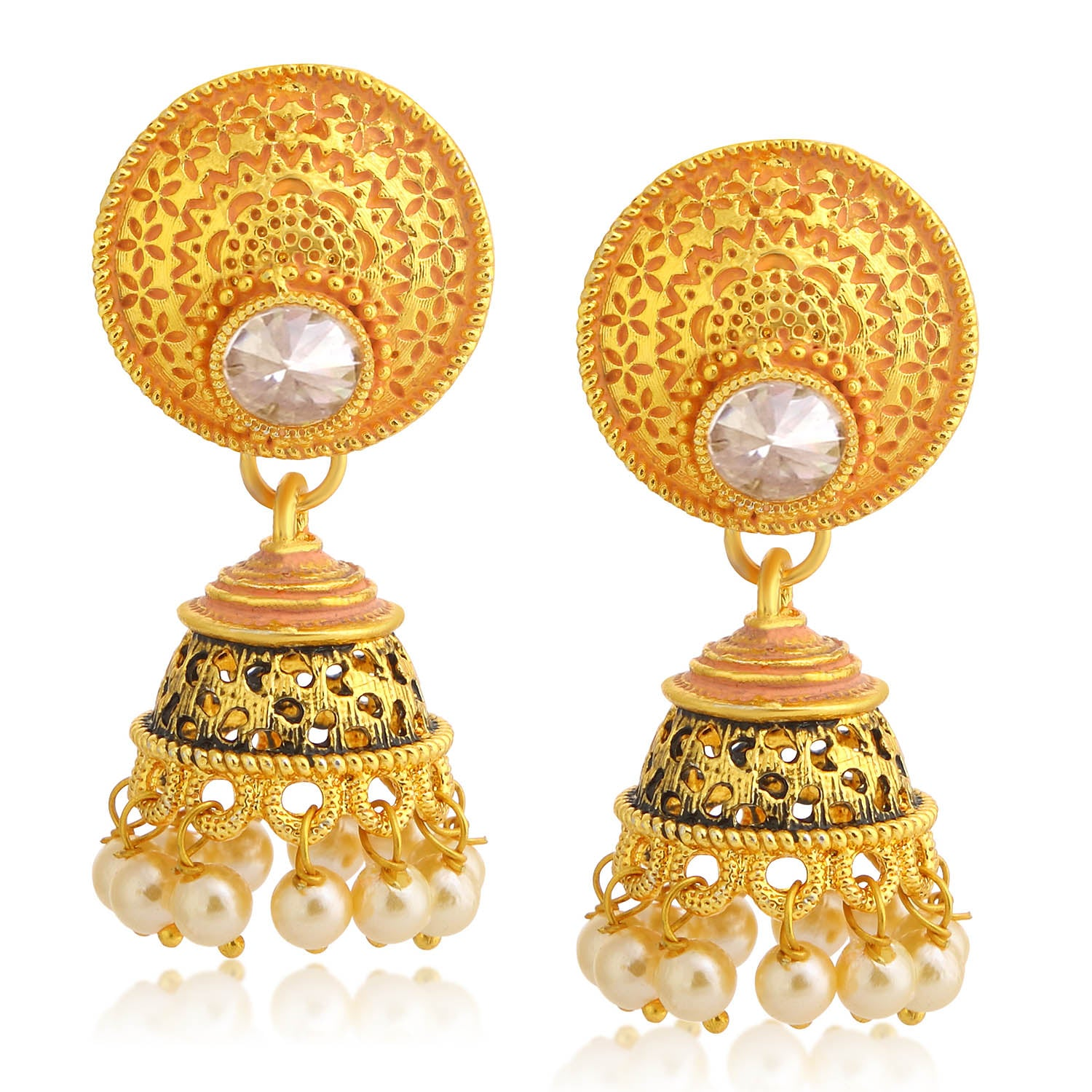 Sukkhi Stylish Gold Plated Pearl Pink Mint Meena Collection Jhumki Earring For Women-SUKKHI1-Earring