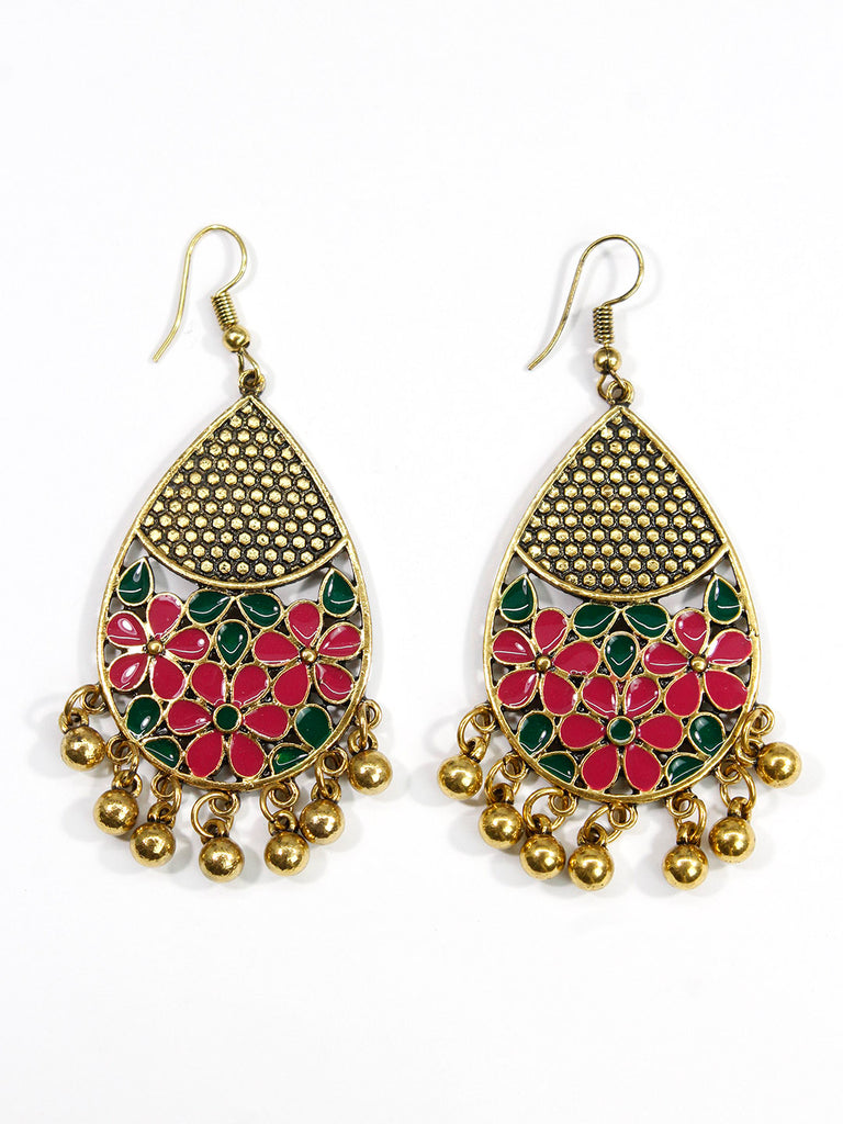 Aana Gold Plated Leaf Design Green And Pink Color Earring