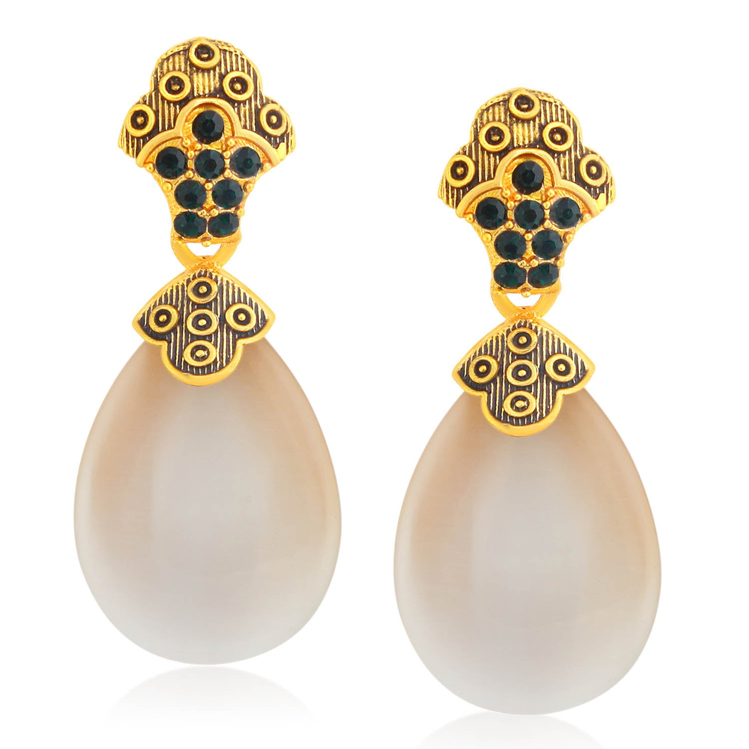 Sukkhi Sparkly Gold Plated Pearl Meenakari Dangle Earring For Women-SUKKHI1-Earring