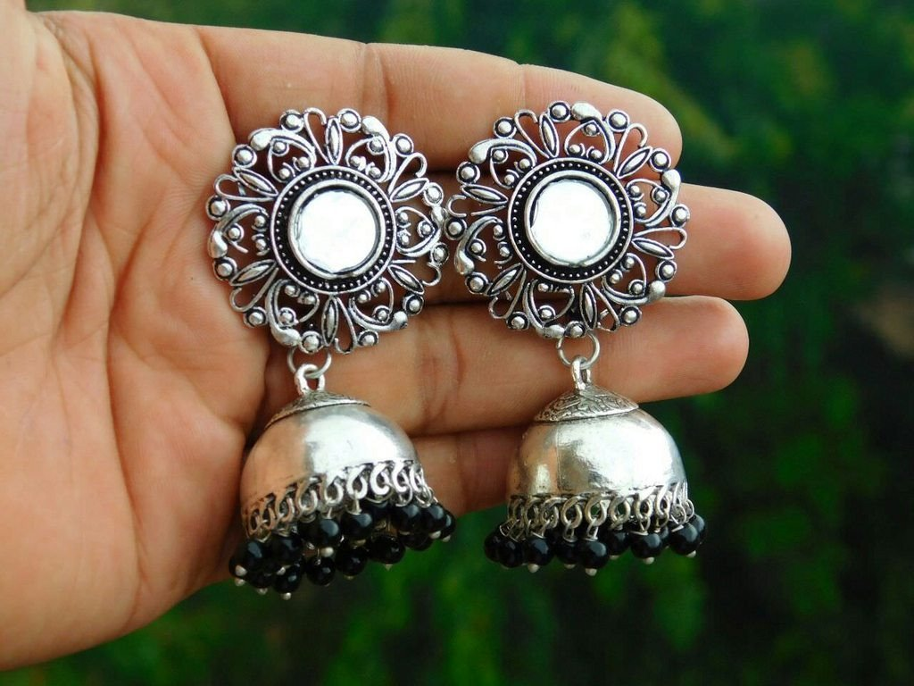 Oxidised German Silver Mirror Jhumka Earring With Black Droppings