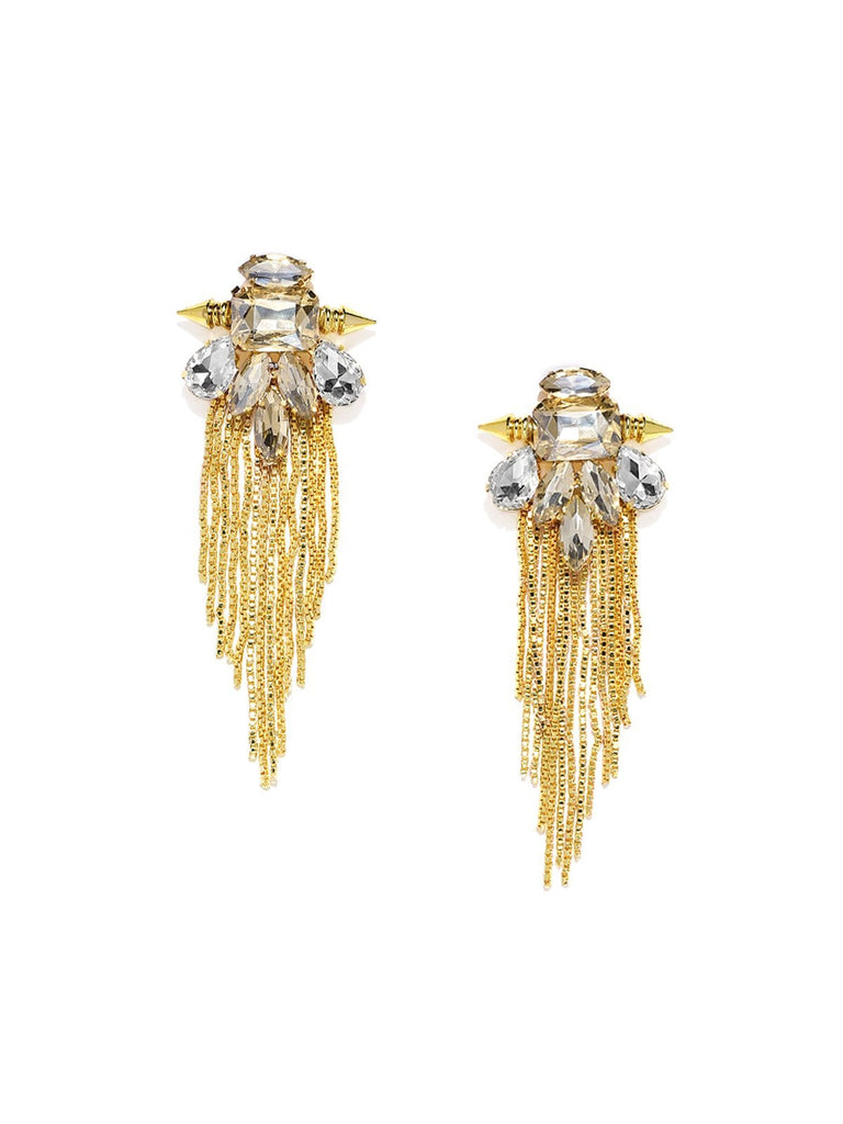 Gold Tone Fashionable Chain Fringed Dangler Earring