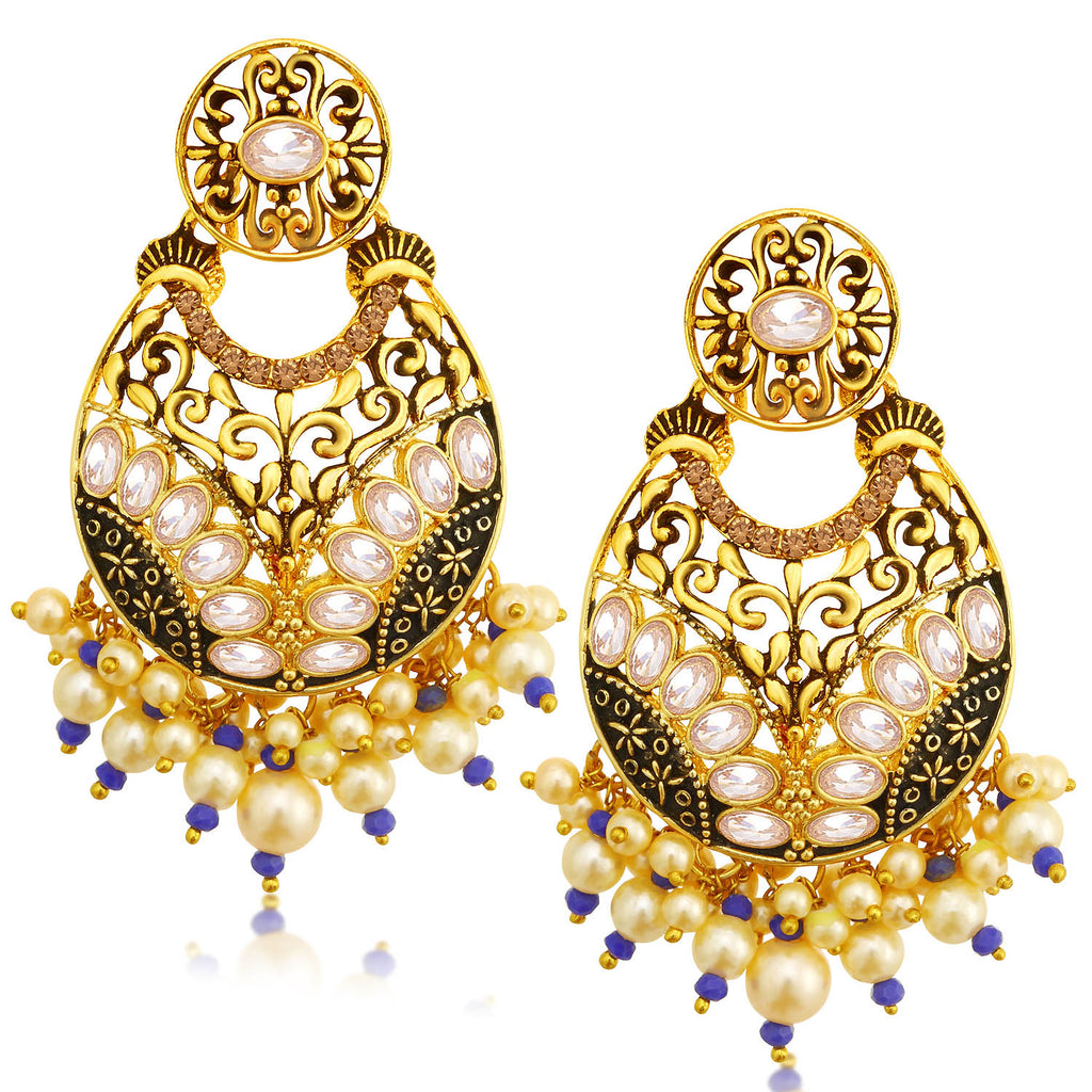 Sukkhi Classic LCT Stone Gold Plated Pearl Chandelier Earring For Women-SUKKHI1-Earring