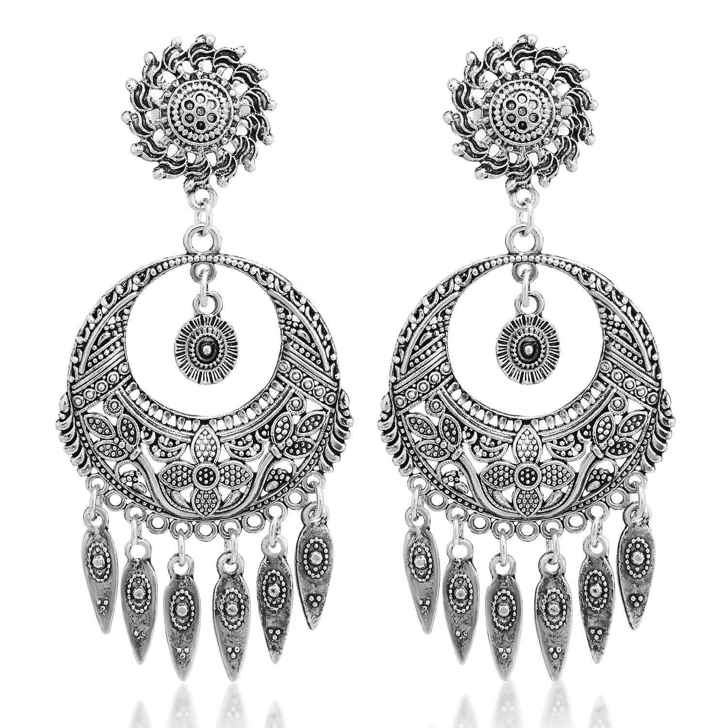 Sukkhi Glamorous Oxidised Floral Chandbali Earring For Women-SUKKHI1-Earring
