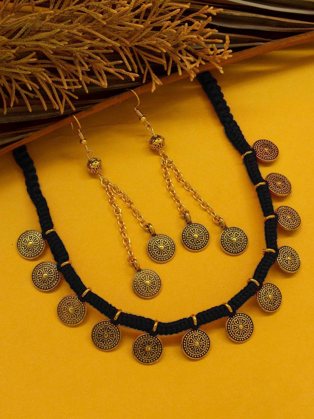 Gold Plated Floral Design With Black Color Thread Handmade Coin Necklace Set By Nishna Designs-NISHNA DESIGNS-Necklace Set
