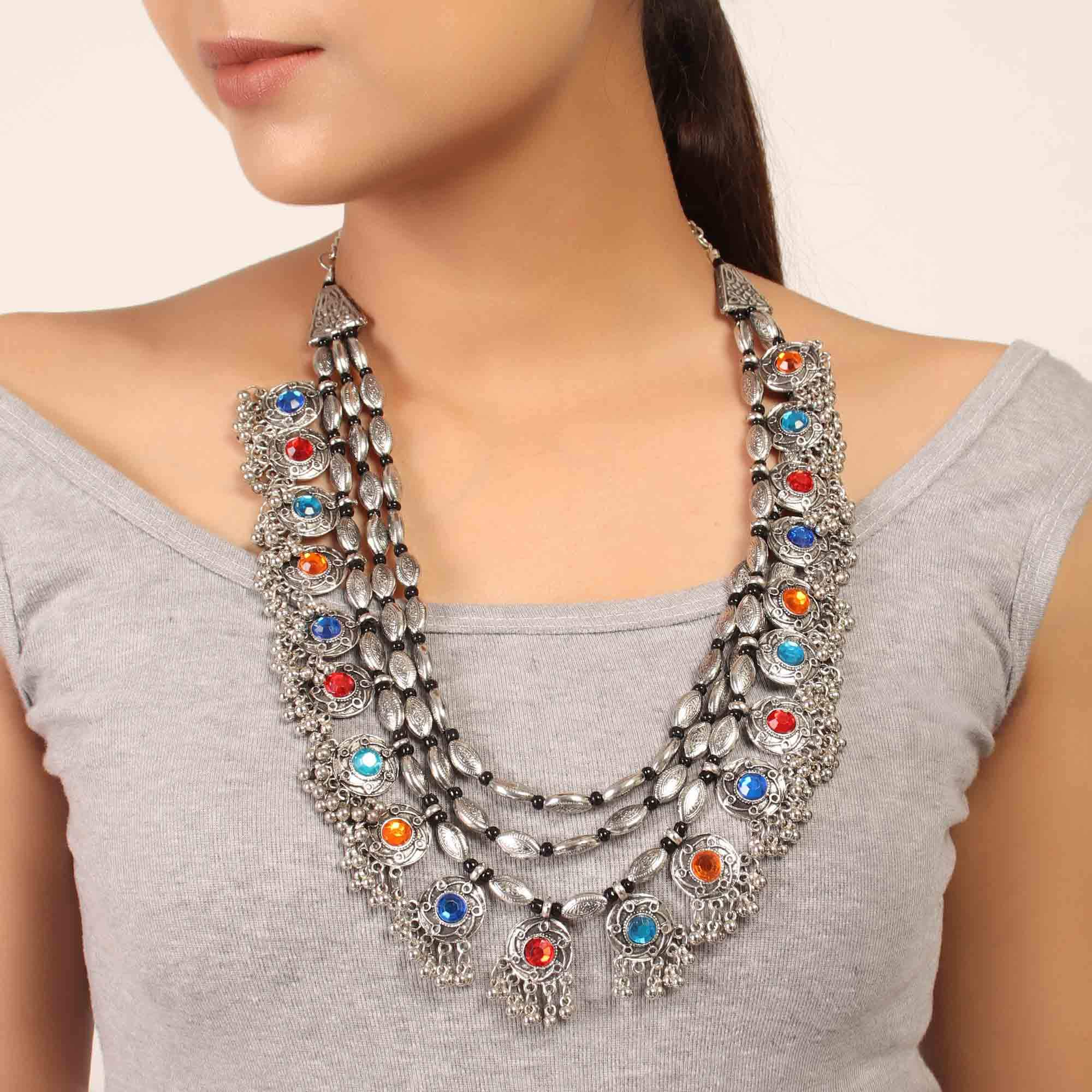 Silver Plated Floral Design Rajwada Necklace with Multicolored Stones Long Necklace By Cippele-Cippele-Necklace
