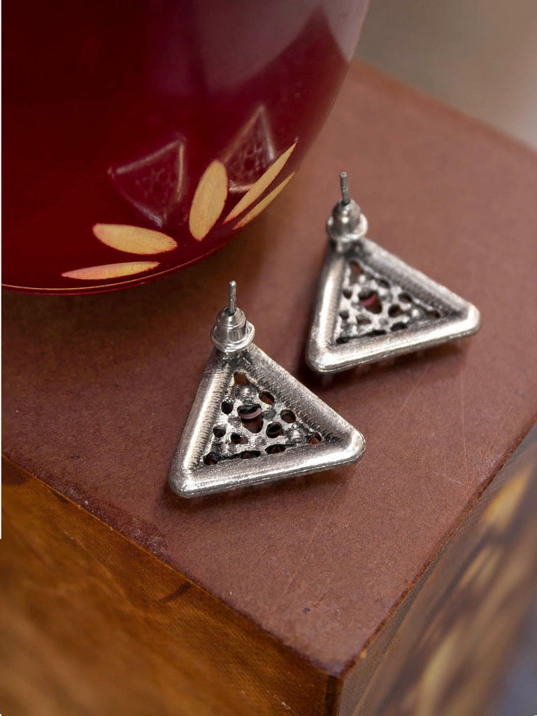 Aana Silver Plated Triangle Shape Design Black And Purple Color Enamel Painted Stud Earring-AANA-Earring