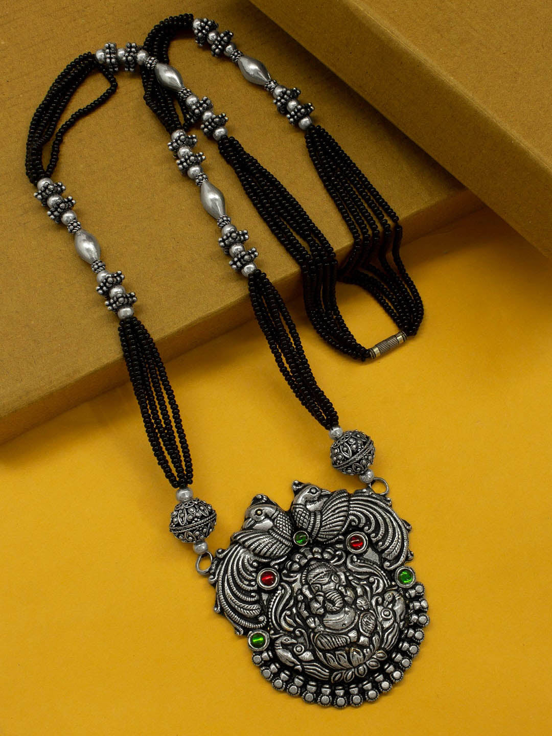 Oxidized German Silver Ganesh Design Pendant Studded With Black Color Mangalsutra Beads Long Necklace-OXIDIZED-Mangalsutra