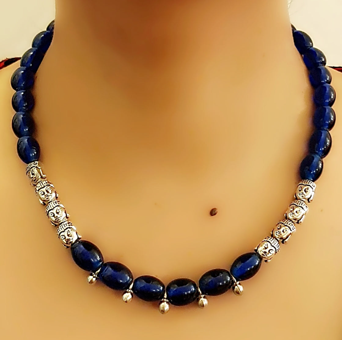 Dark Blue Color Glass Beads Necklace