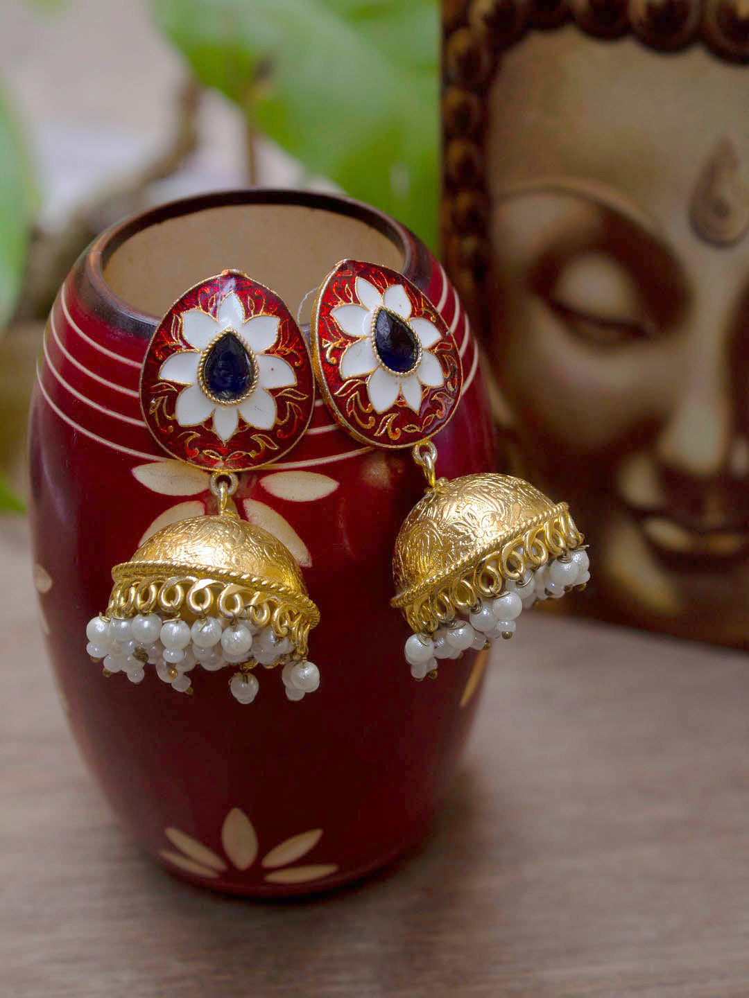 Oxidized Gold Plated Floral Design Red Color Enamel Painted With White Hanging Pearls Jhumka Earring-OXIDIZED-Earring