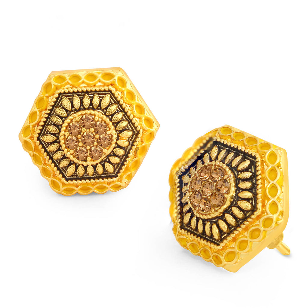 Sukkhi Classy LCT Stone Gold Plated Hexagon Yellow Mint Meena Collection Stud Earring For Women-SUKKHI1-Earring