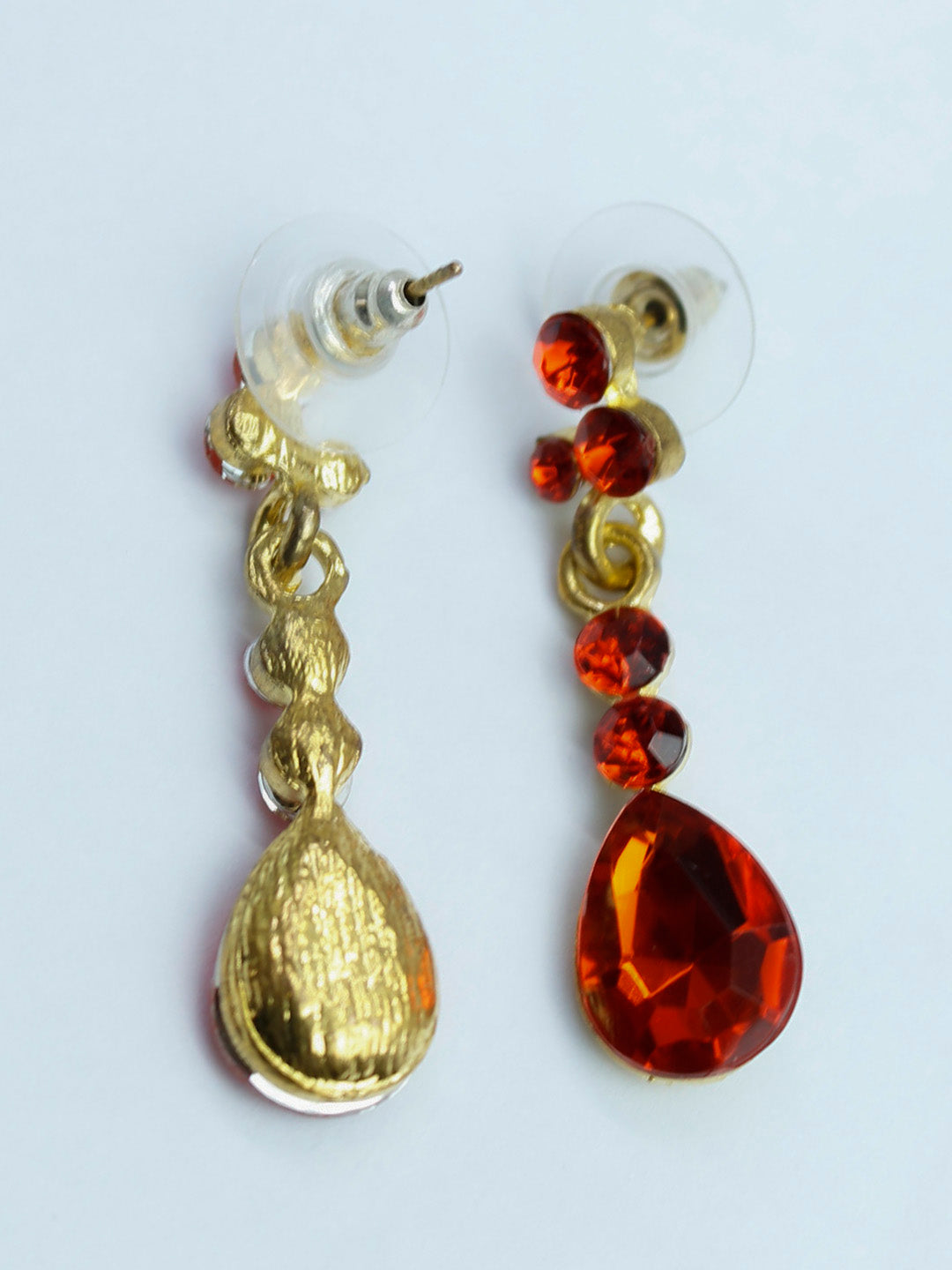 Gold Plated Red Color Drop Earring-AVISMAYA1-Earring