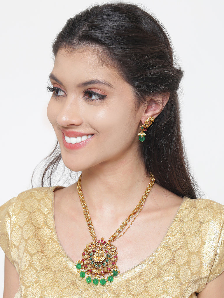 Pretty High Quality Lakshmi And Peacock Design Necklace Set-ARADHYAA JEWEL ARTS1-Necklace Set